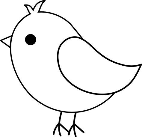 Cute Bird Line Art - Free Clip Art