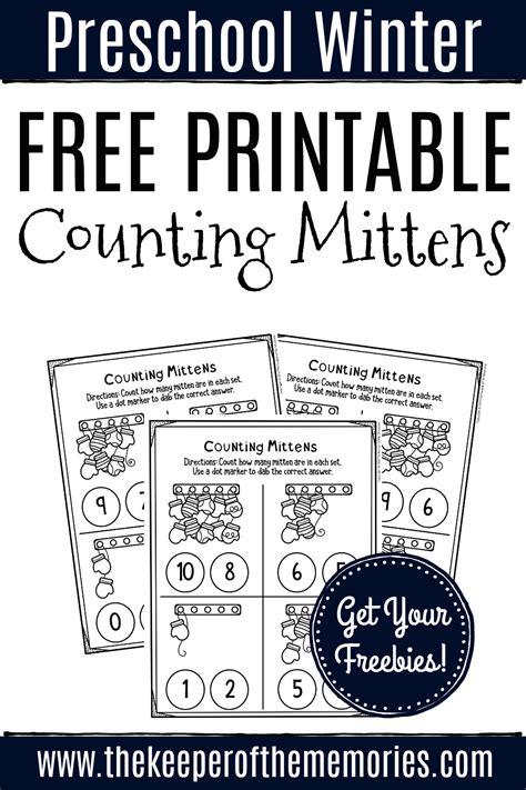 printable counting mittens winter preschool worksheets