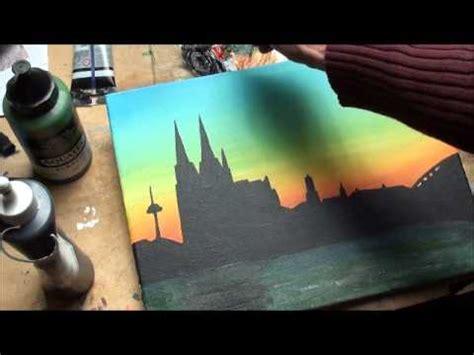 malen mit acryl skyline altstadt koeln teil  youtube