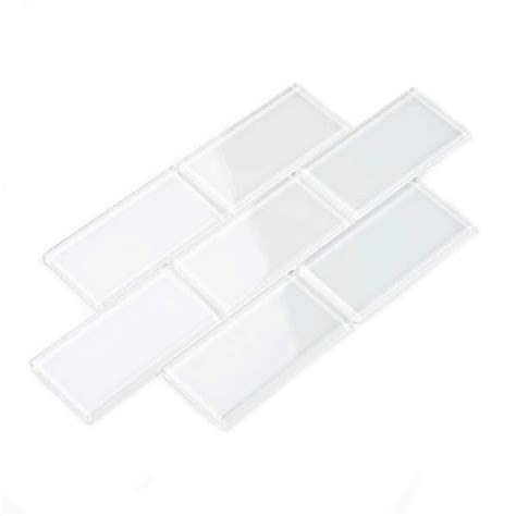 glass subway tile bright white 3 quot x 6 quot subway