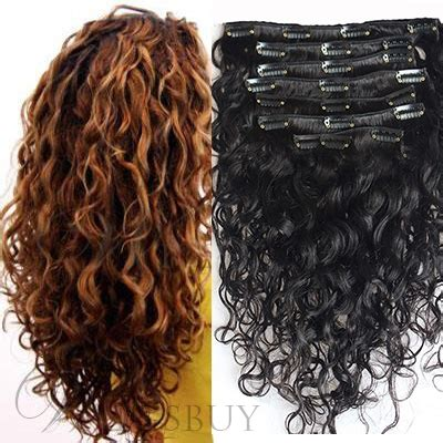 carefree kinky curly  pcs clip  human hair extensions