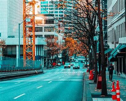 Street Buildings Road Asphalt Traffic Monitor Ultrawide