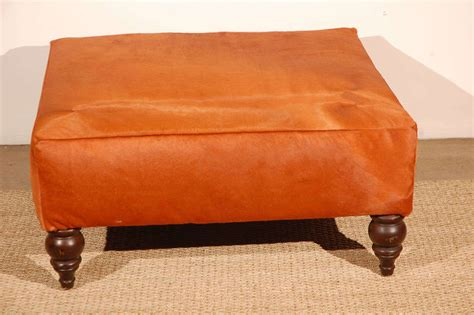 orange ottoman coffee table orange cowhide ottoman at 1stdibs
