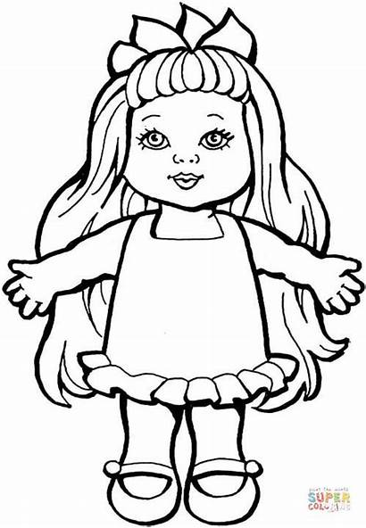 Doll Coloring Pages Dolls Printable Paper Barbie
