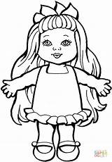 Doll Coloring Pages Baby Dolls Printable Paper Barbie American Getcoloringpages Christmas Toys sketch template