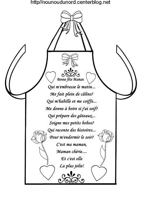 poeme cuisine fête des mères tablier de cuisine en coloriage et avec poème
