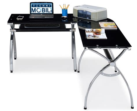 black glass l shaped desk techni mobili l shaped computer desk black glass rta