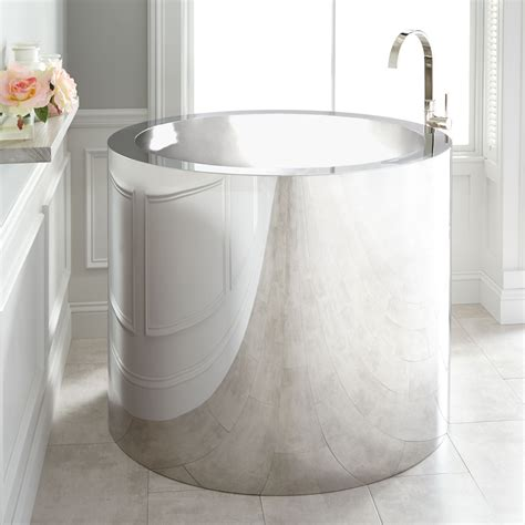 soaker tubs 43 quot polished stainless steel soaking tub japanese