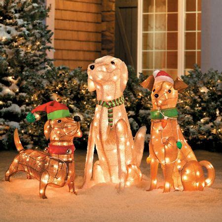 pre lit tinsel dogs christmas decorations christmas