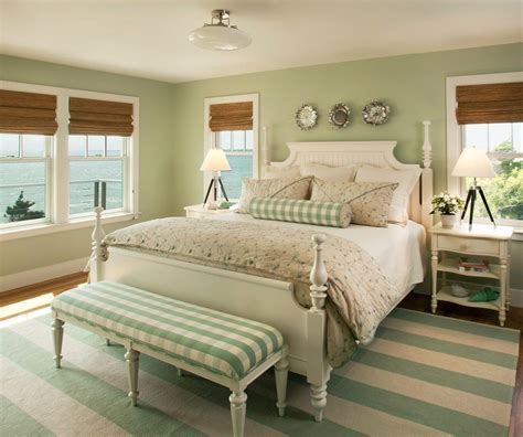 Green Bedroom Walls Beach Style With Cream Furniture