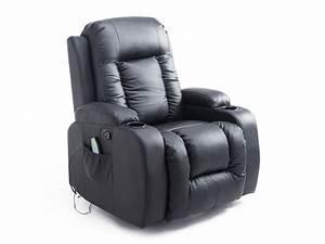 Fauteuil Electrique Conforama : fauteuil de massage et relaxation lectrique chauffant inclinable repose pied t l commande noir ~ Teatrodelosmanantiales.com Idées de Décoration