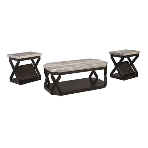Match your unique style to your budget with a brand new 3 piece coffee and end table sets to transform the look of your room. Ashley Furniture Radilyn 3 Piece Coffee Table Set in Grayish Brown - T568-13