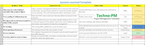 lessons learned template excel  project