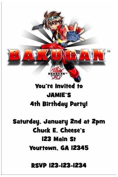 Bakugan Invitation Invitations Party Birthday Invites Backyardigans