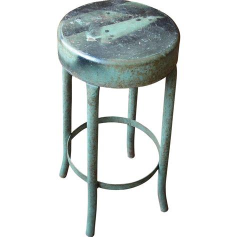 vintage industrial salvage green metal stool from