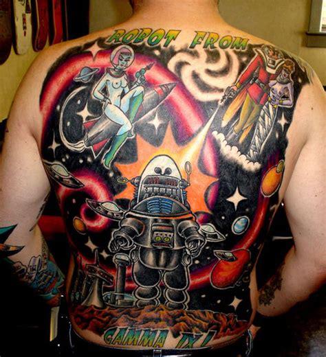 Cartoon Space Alien Character Back Tattoo Design For Men