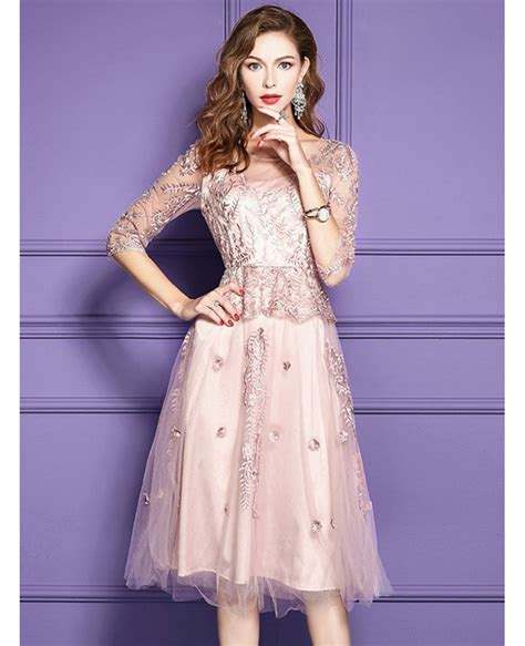 pink lace knee length formal dress  wedding guests
