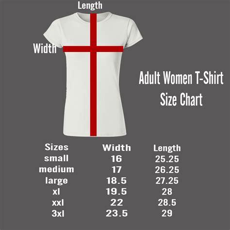 ADULT WOMEN T-SHIRT SIZE CHART