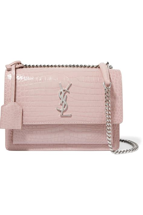 saint laurent sunset medium croc effect leather shoulder bag  pink lyst