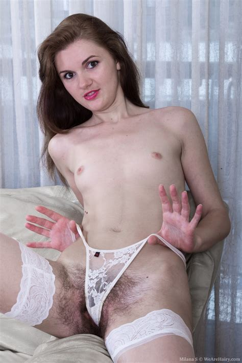 Milana S demonstration off her hairy pits and hairy pussy