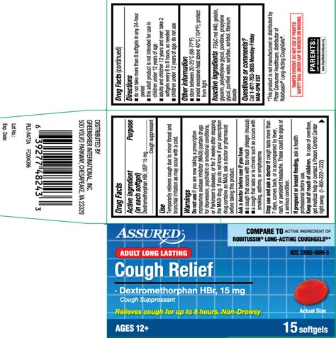 cough relief capsule liquid filled assured dollar