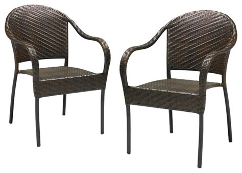 rancho outdoor brown gray wicker stackable chairs set of