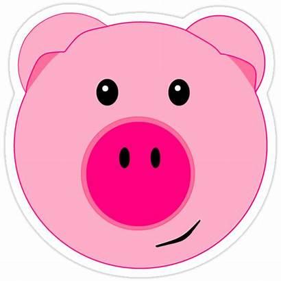 Pig Face Sticker Stickers Redbubble Pigs Cartoon
