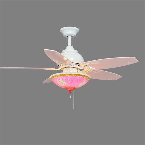 ceiling fan pretty  pink pull chain light kit girl