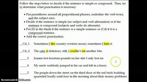 punctuation practice  simple  compound sentences