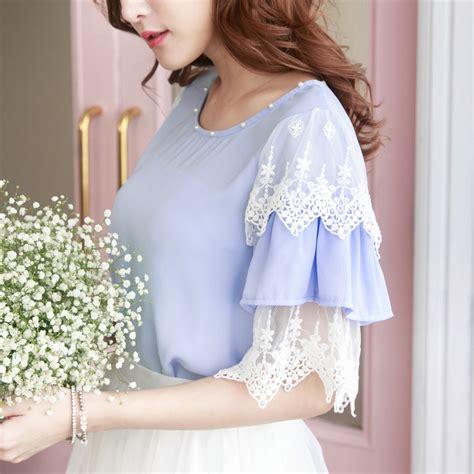 yoco womens chiffon blouse with layered lace sleeves korean fashion ebay