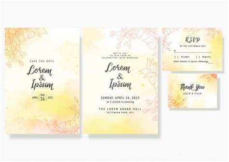Wedding floral invitation card save the date rsvp design