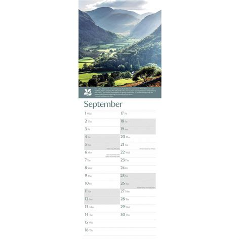 national trust coast countryside slim calendar
