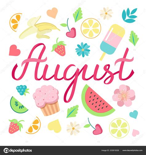 Hand Drawn Hello August Typography Lettering Poster Bright ...