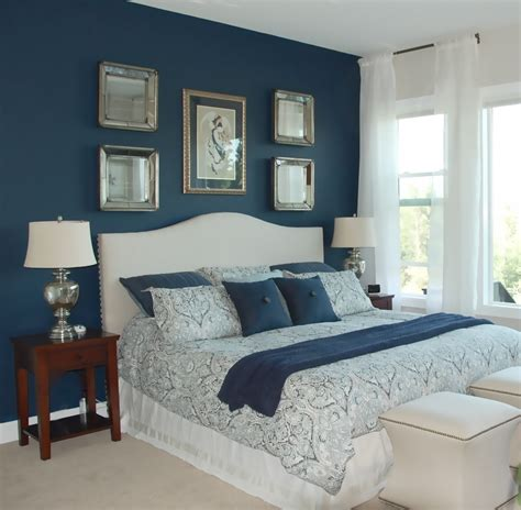 what color for bedroom royal blue painted bed room navy blue accent wall in 17797
