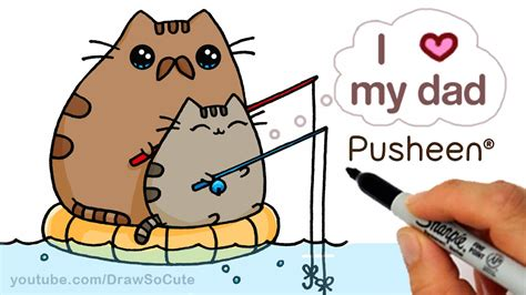 draw pusheen cat step  step cute fathers day