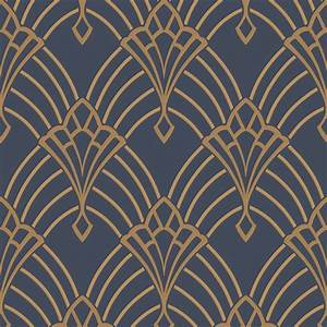 Papier Peint Art Nouveau : astoria art deco wallpaper dark blue gold rasch 305340 ~ Dailycaller-alerts.com Idées de Décoration