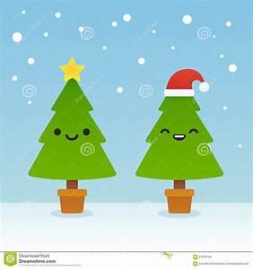 Cartoon Christmas trees stock vector. Image of eyes, laugh ...