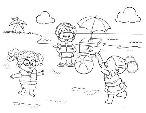 gambar mewarnai anak bermain di pantai