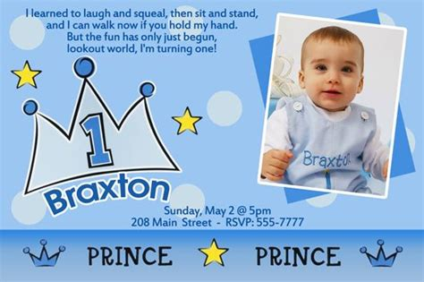 Lil' Prince Birthday Invitation Birthday invitation message