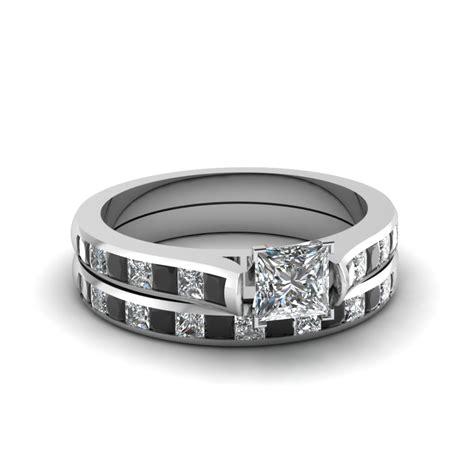 princess cut channel set wedding ring sets  black