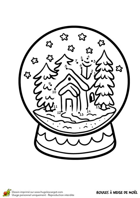 dessin  colorier dune boule  neige de noel  chalet