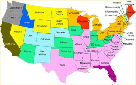 map   united states  state names  travel