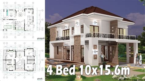 4 bedroom home plan exterior and interior 10x15 6m