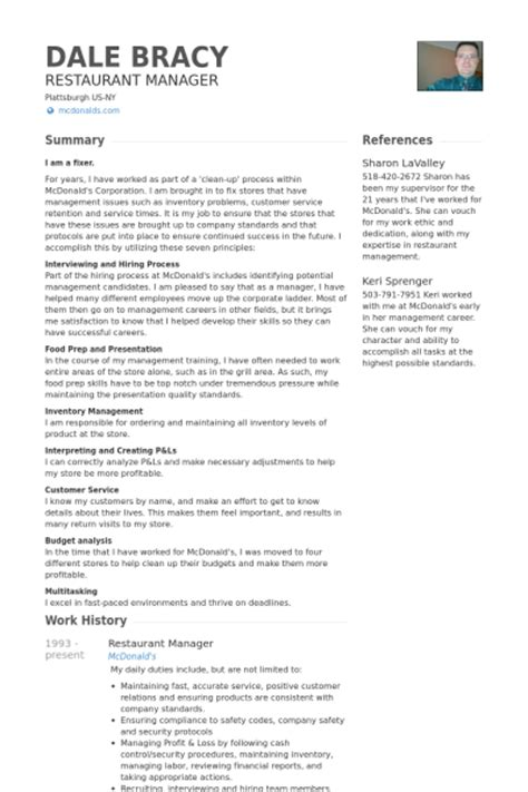 resume for burger king gastwirt cv beispiel visualcv lebenslauf muster datenbank