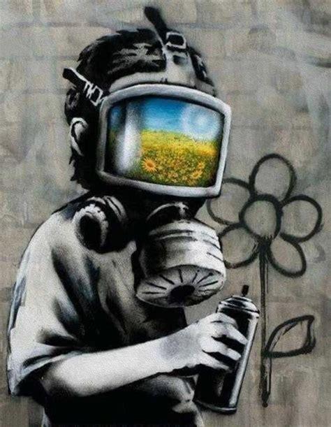 Banksy Canvas Gas Mask Boy Street Art Grafitti Print