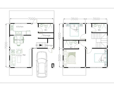 House Plans 7x7m with 3 Bedrooms SamHousePlans