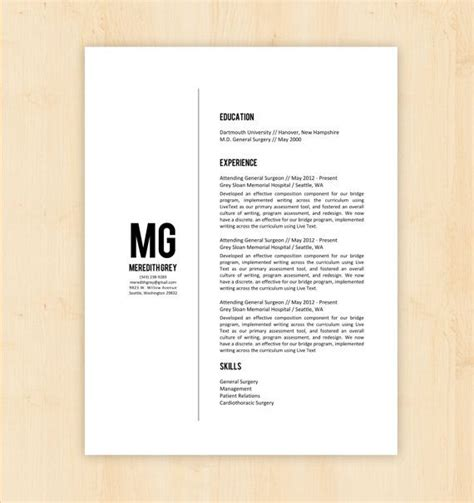 Resume Layout Templates by Resume Template Cv Template The Meredith Grey Resume