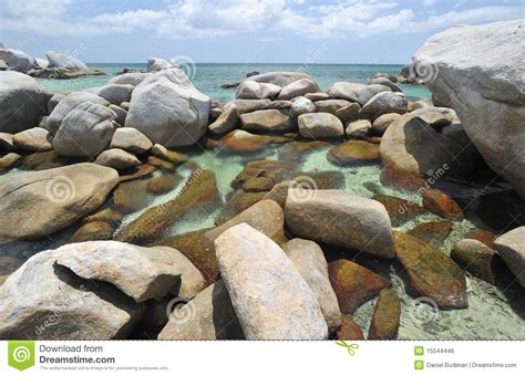 exotic rocky beach  belitung indonesia stock photo