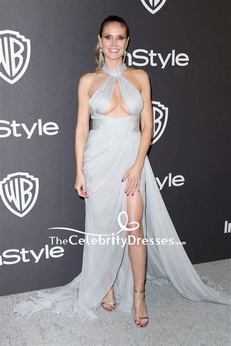 Heidi Klum Gray Cut Out Thigh High Slit Evening Dress