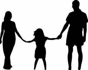 Clipart - Mother Daughter Father Holding Hands Silhouette